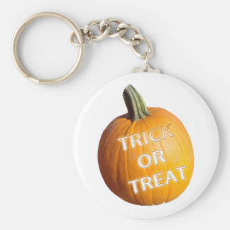 Pumpkin with Trick or Treat on it Keychains