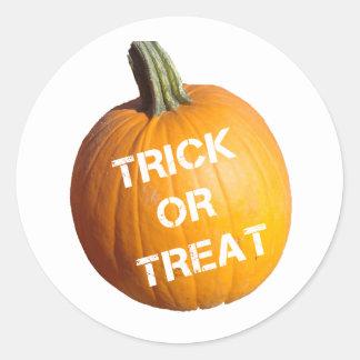 Pumpkin with Trick or Treat on it Round Sticker