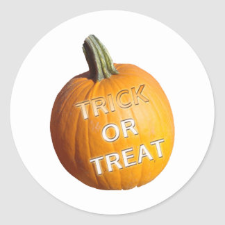 Pumpkin with Trick or Treat on it Stickers
