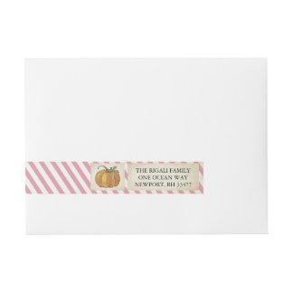 Pumpkin Wrap Around Label - Pink Stripes Wraparound Address Label