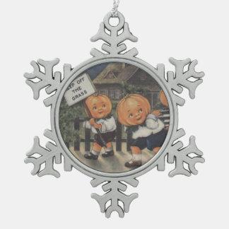 Pumpkinhead Fence Trick R Treat Pumpkin Pewter Snowflake Decoration