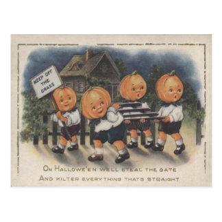 Pumpkinhead Fence Trick R Treat Pumpkin Postcard
