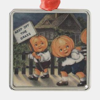 Pumpkinhead Fence Trick R Treat Pumpkin Silver-Colored Square Decoration