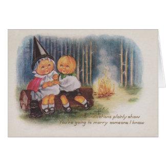 Pumpkinhead Witch Fire Forest Pumpkin Greeting Card