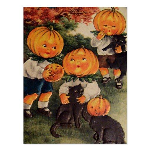 Pumpkinheads Black Cat (Vintage Halloween Card) Postcards