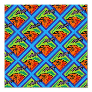 Pumpkins and Bats in Patterns of Green/Blue 13 Cm X 13 Cm Square Invitation Card