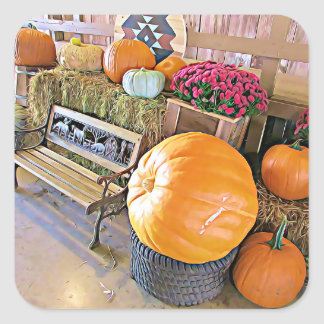Pumpkins and Country Bench Halloween Stickers