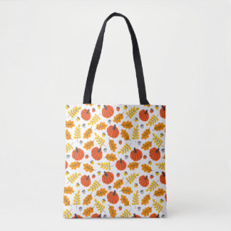 Pumpkins And Leaves Tote Bag