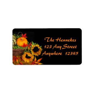 Pumpkins and Sunflowers Address Label