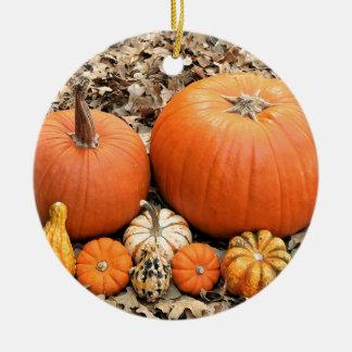 Pumpkins In Leaves Ceramic Ornament