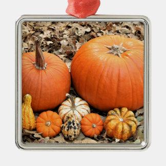 Pumpkins In Leaves Metal Ornament