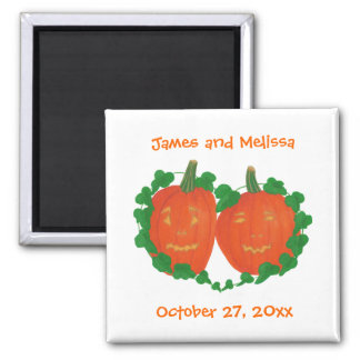 Pumpkins in Love Halloween Wedding Magnets