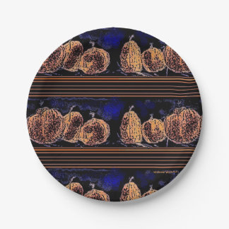 Pumpkins in the Night 7 Inch Paper Plate