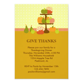 "Pumpkins on a Stand Thanksgiving Dinner Invitation 5"" X 7"" Invitation Card"
