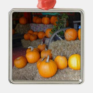 Pumpkins on Straw Metal Ornament