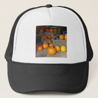 Pumpkins on Straw Trucker Hat
