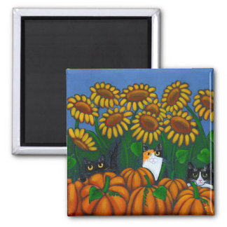 Pumpkins & Sunflowers Square Magnet