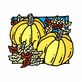 Pumpkins two with leaves fall design photo cut out