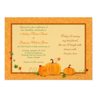 Pumpkins Wedding Invitation for Fall Wedding