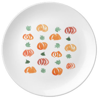 Pumpkins with Leaves 10.75'' Porcelain Plate