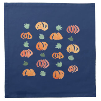 Pumpkins with Leaves Cocktail Cloth Napkins