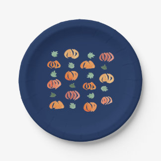 Pumpkins with Leaves Paper Plates 7''