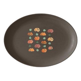 Pumpkins with Leaves Serving Platter