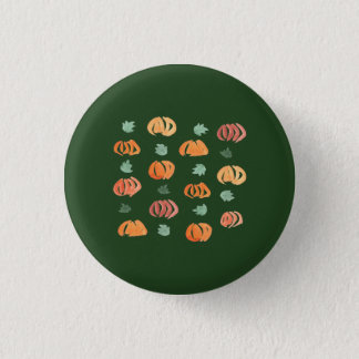 Pumpkins with Leaves Small Round Button