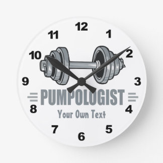 Pumpologist Pumping Iron Weightlifting Round Clock