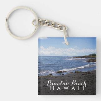 Punalu'u Black Sand Beach Hawaii Double-Sided Square Acrylic Key Ring