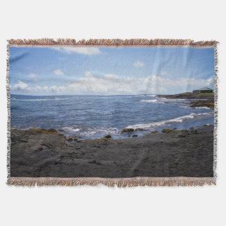Punalu'u Black Sand Beach Hawaii Throw Blanket
