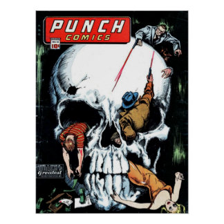 Punch Comics Skull Face Poster Print