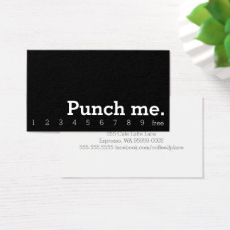 Punch Me Simple Dark Loyalty Coffee Punch-Card Business Card