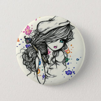 Punch of Color Artist Paint Girl Fairy Fantasy 6 Cm Round Badge