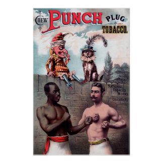 Punch Plug Tobacco Advertisement Vintage Poster