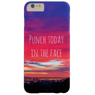 """Punch Today"" Quote Hot Pink & Blue Sunrise Photo Barely There iPhone 6 Plus Case"