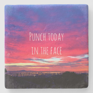"""""""Punch Today"""" Quote Hot Pink & Blue Sunrise Photo Stone Coaster"""