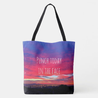 """Punch today"" quote hot pink & blue sunrise photo Tote Bag"