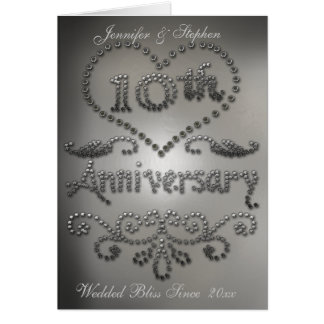 Punched Tin Look 10th Wedding Anniversary Card