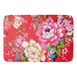 Punchy floral pattern bath mat