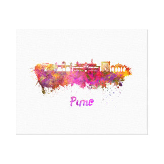 Pune skyline in watercolor canvas print