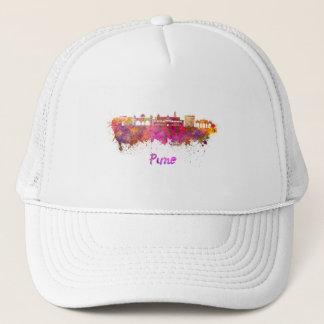Pune skyline in watercolor trucker hat