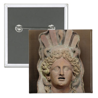 Punic mask representing Demeter 15 Cm Square Badge