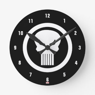 Punisher Skull Icon Round Clock