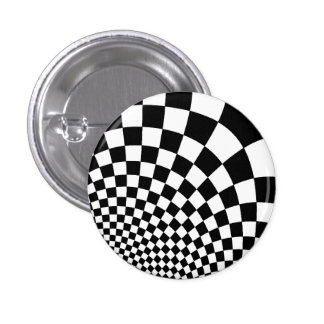 Punk black and white abstract checkerboard pin