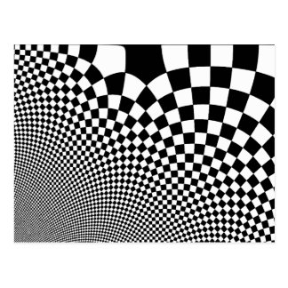 Punk black and white abstract checkerboard postcard