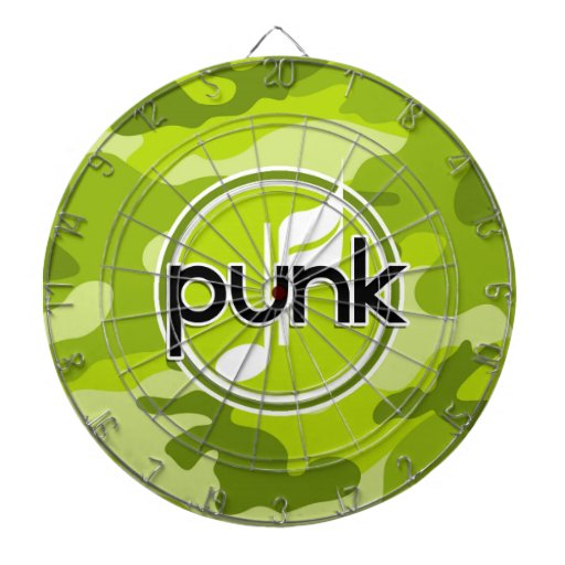 Punk; bright green camo, camouflage dart board