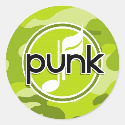 Punk; bright green camo, camouflage stickers
