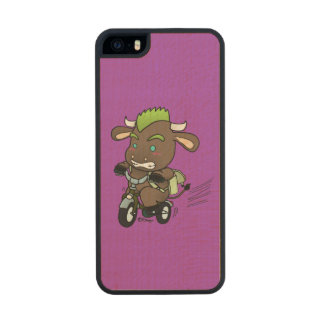 Punk Bull Riding a Bike (Back to School) Wood iPhone SE/5/5s Case