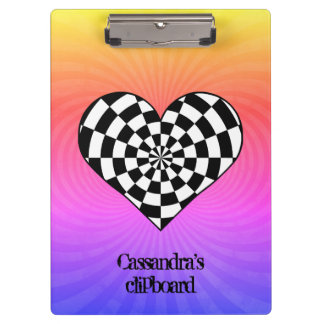 Punk checkered heart clipboard